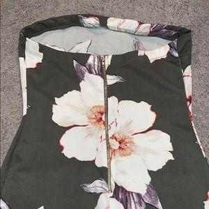 Haute Monde Dresses - Green Strapless Floral Peplum Bottom Dress